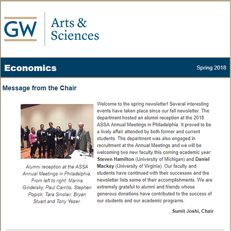 2018 CCAS Economics Department Newsletter Screenshot