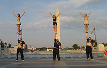 GW Cheerleaders at the WWII Memorial