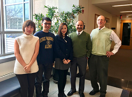 Professors Maggie Chen, Sumit Joshi, and Tony Yezer welcomed Tian Weng and Jane Zheng, two of our MS program alumni visiting from Shanghai