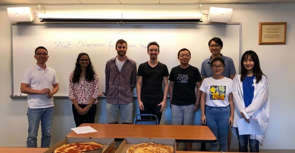 "left to right: Gargi Kamath, Nathaniel Harris, Frederico Haslop, Lidong Yang and Yueyi ""Angela"" Qin with SAGE officers Steven Chen and Bo Jiang"