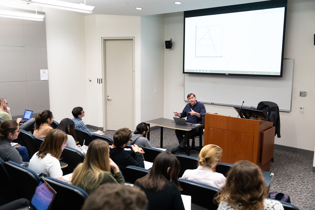 Graduate economics students in Professor Steven Suranovic's Survey of International Trade Theory and Policy class
