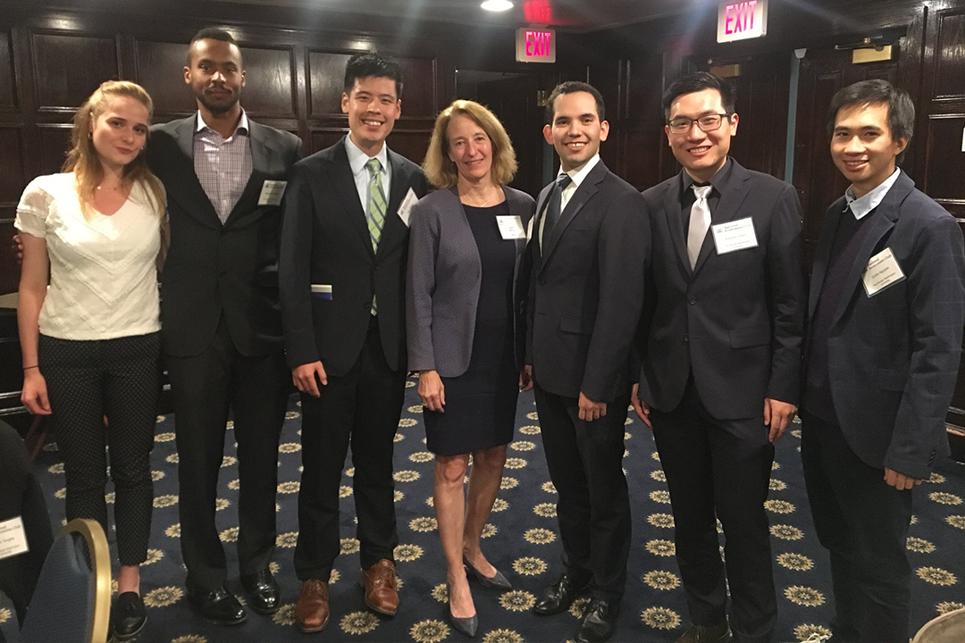 Six top GWU Economics students joined Joann Weiner (center), Associate Professor of Economics and Director of our Applied Economics M.A. program, last week at the National Economists Club's 50th Anniversary dinner held at the National Press Club!