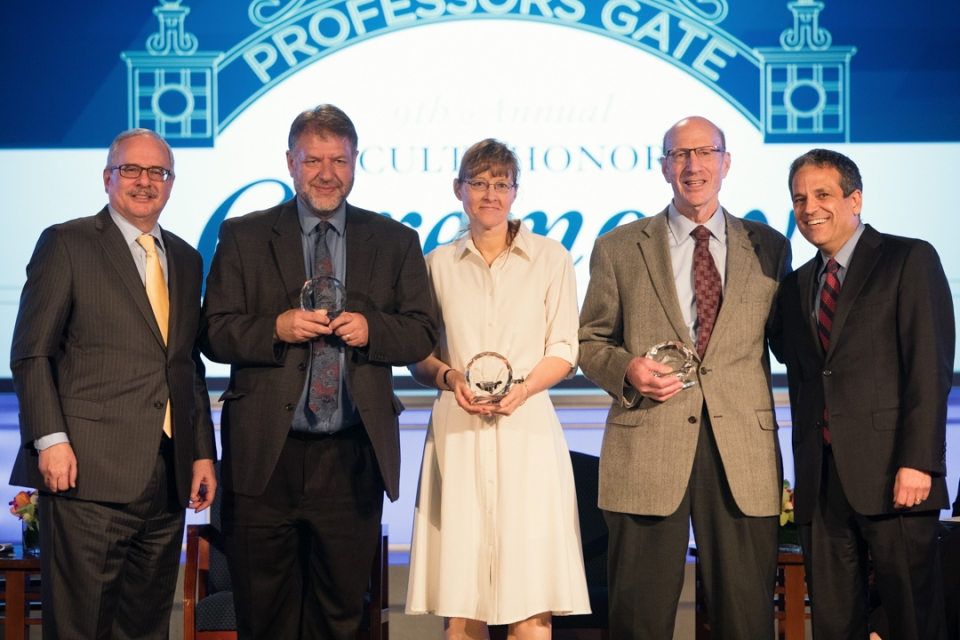 GW President Thomas LeBlanc; Trachtenberg Faculty Prize winners Hugh Gusterson, Heather Berry and Anthony Yezer and Provost Forr