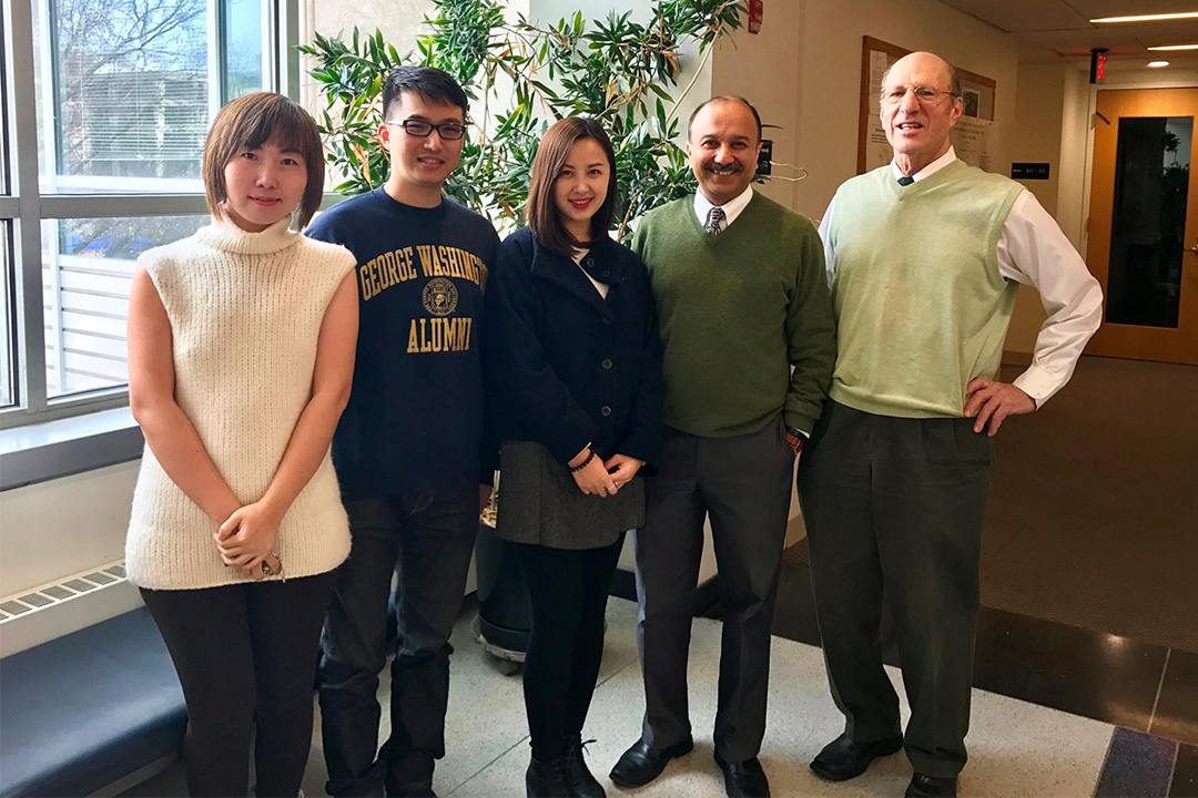 (left to right) Professors Tony Yezer, Sumit Joshi and Maggie Chen welcomed Tian Weng and Jane Zheng, two of our M.A. program alumni visiting from Shanghai!